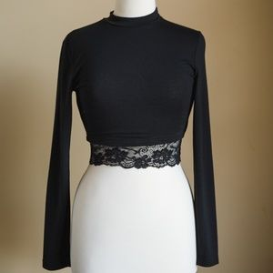 Windsor Black Long Sleeve Crop Top with Lace